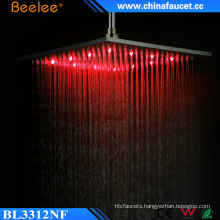 Bathroom Brushed High Flow Temperarure Control LED Light Top Shower