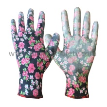 Flower Printed Polyester Knitted Work Gloves with White PU on Palm