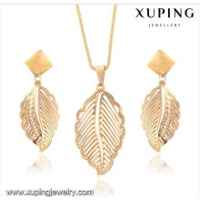 63914 Fashion Delicate 18k Gold-Plated Leaf-Shaped Imitation Stainless Steel Jewelry Set