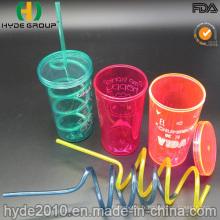Gobelet en plastique à paroi simple avec paille et couvercle à vis