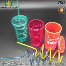 Single Wall Plastic Tumbler with Straw and Screw Lid