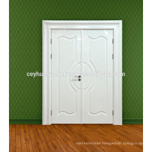 High Gloss White Lacquered Interior Door for Villas with Wide Molded FlashyJambs