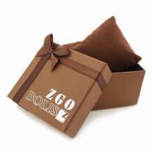 Cajas de reloj de papel de lujo con logotipo blanco de serigrafía
