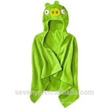 100% bamboo baby Hooded towel green pig baby towel animal super fluffy premium boys &girls baby bath towel