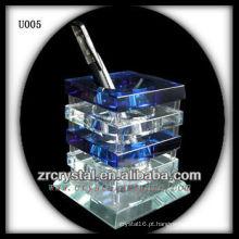 K9 suporte de caneta de cristal azul e branco