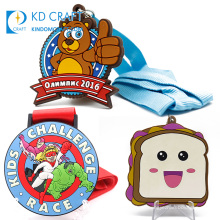 Free sample personalized custom embossed 3d enamel souvenir cartoon smiley silicone rubber soft pvc medal for kids