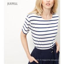 T-shirt Boxy en coton à rayures bleues
