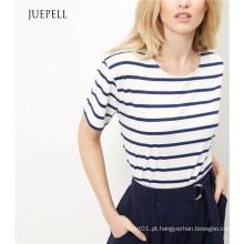 Camisa listrada de algodão T listrada azul