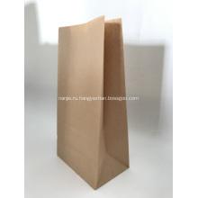 Brown Kraft Paper Flat Bottom Bag For Bread