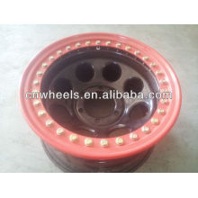 chrome SUV wheels with different color lock ring