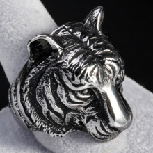 Stainless Steel Tiger Head Type Animal Ring