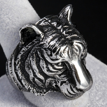 Rostfritt stål Mäns Tiger Head Type Animal Ring