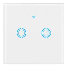 TUYA US 2 Gang 2 Way Waterproof Tempered Glass Plate Touch Switch Wall Switch Light Electronic Switch