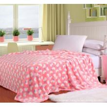 Applique Cotton Fiber Coral Fleece Printed Portable Blanket (01)