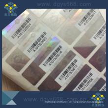 Silber Hologramm Anti-Fake Label mit Barcode-Druck