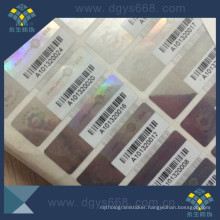 Silver Hologram Anti-Fake Label with Barcode Printing