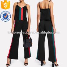 Kontrast-Streifen-Panel Top mit weiten Hosen Herstellung Großhandel Mode Frauen Bekleidung (TA4057SS)