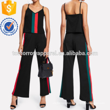 Contrast Stripe Panel Top With Wide Pants Manufacture Wholesale Fashion Women Apparel (TA4057SS)