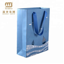 High quality navy blue paper bag for packing souvrnir supplied by GZ factory