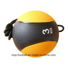Yellow Rubber Medicine Ball with Rope
