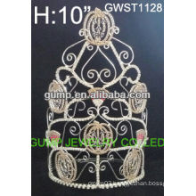 Large hot wholesale Halloween pumpkin pageant custom crystal toara crown -GWST1128