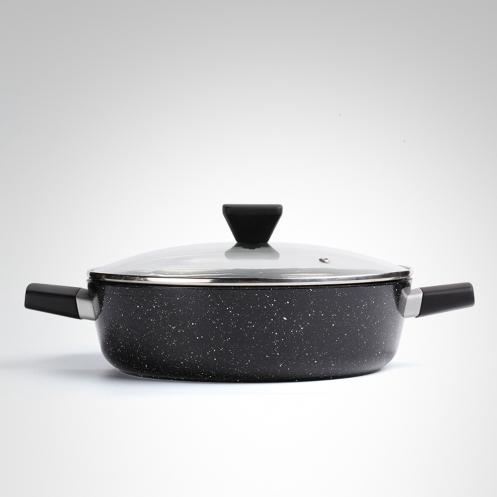 NEW GRAY STONE MARBLE COATED FRYPAN