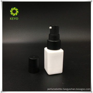 15ml square white luxury cosmetic glass pump bottle