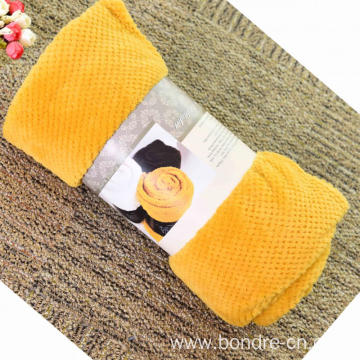 Double Waffle Coral Fleece Blanket Solid Color
