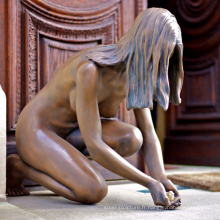 Art déco statue en métal artisanat femme nue sculpture en bronze pour la décoration de la maison