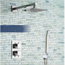 Robinet de douche thermostatique caché carré avec douchette et pomme de douche de 8 po