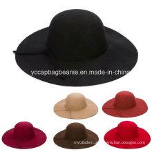 Moda senhoras lã larga Brim feltro chapéu