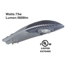 Heiße verkaufende hohe Leistung führte Straßenlaterne 75w führte Straßenbeleuchtungspol im Freienbeleuchtung mit UL DLCcertificate