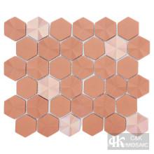 Glass hexagon tile backsplash
