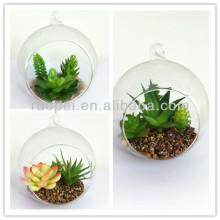 2014 mini bonsai de la planta artificial del tacto real caliente con la olla de cristal para la decoración