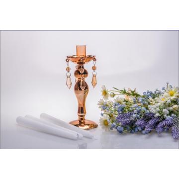 Golden Single Poster Glass Candle Holder for Wedding Decoration