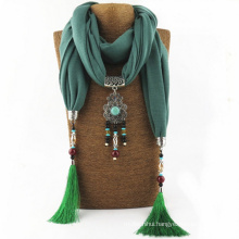 OEM manufacture good quality solid color necklace tassels plain pendant scarf 2017