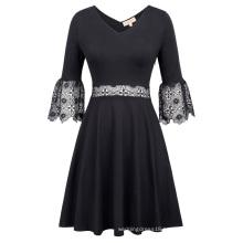Kate Kasin Sexy Women's Lantern Sleeves V-Neck V-Back Flowers Crochet Black Cotton A-Line Dress KK000775-1