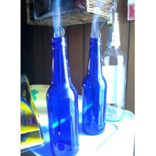 2016 Wholesale Top Quality Round Bluecolored Glass Beer Bottle