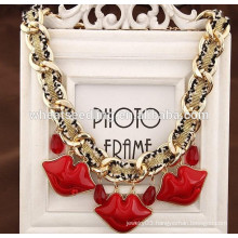 Hot fashion lip pendant sex red lip necklace