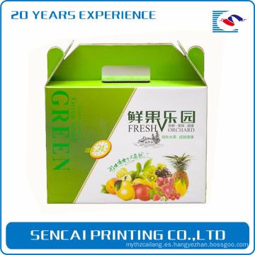 Caja de regalo de papel corrugado de impresión colorida SenCai con mango para fruta