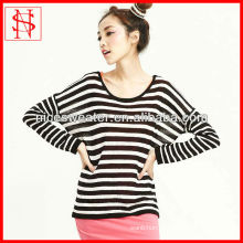 2014 new fashion design knit sweaters ladies striped pullover loose long sleeve batwing sweater