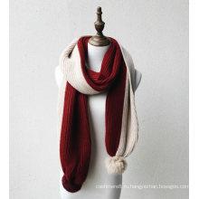 Женские зимние унисекс теплый 2 тонов вязаный шарф с помпонами (SK161)