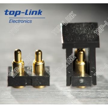 2 pinos Flat Pogo Pin conector com habitação