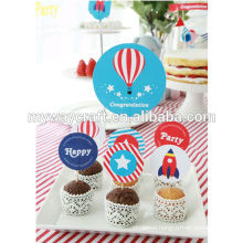 round party decoration paper cake toppers set/wholesale cupcake cake topper set
