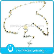 TKB-N0034 Polido dois tons talão longo cadeia 316L mancha de aço colar com Maria e crucifixo pendentes