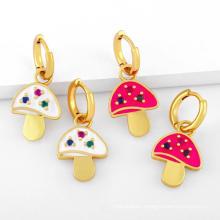 Fashion Enamel Earring Colorful Oil Drop Mushroom Earrings Female Student Kid Cute Plant Earring