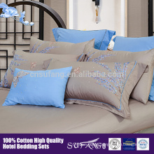 High quality high density satin coton five start Hotel linen Embroidery Flower Pattern Bedding Set