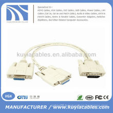 1 PC TO 2 MONITOR 15 PIN VIDEO VGA SVGA Y SPLITTER CABLE ADAPTER