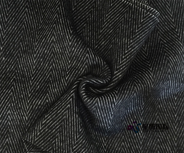 Black Herringbone Wool Blend Fabric