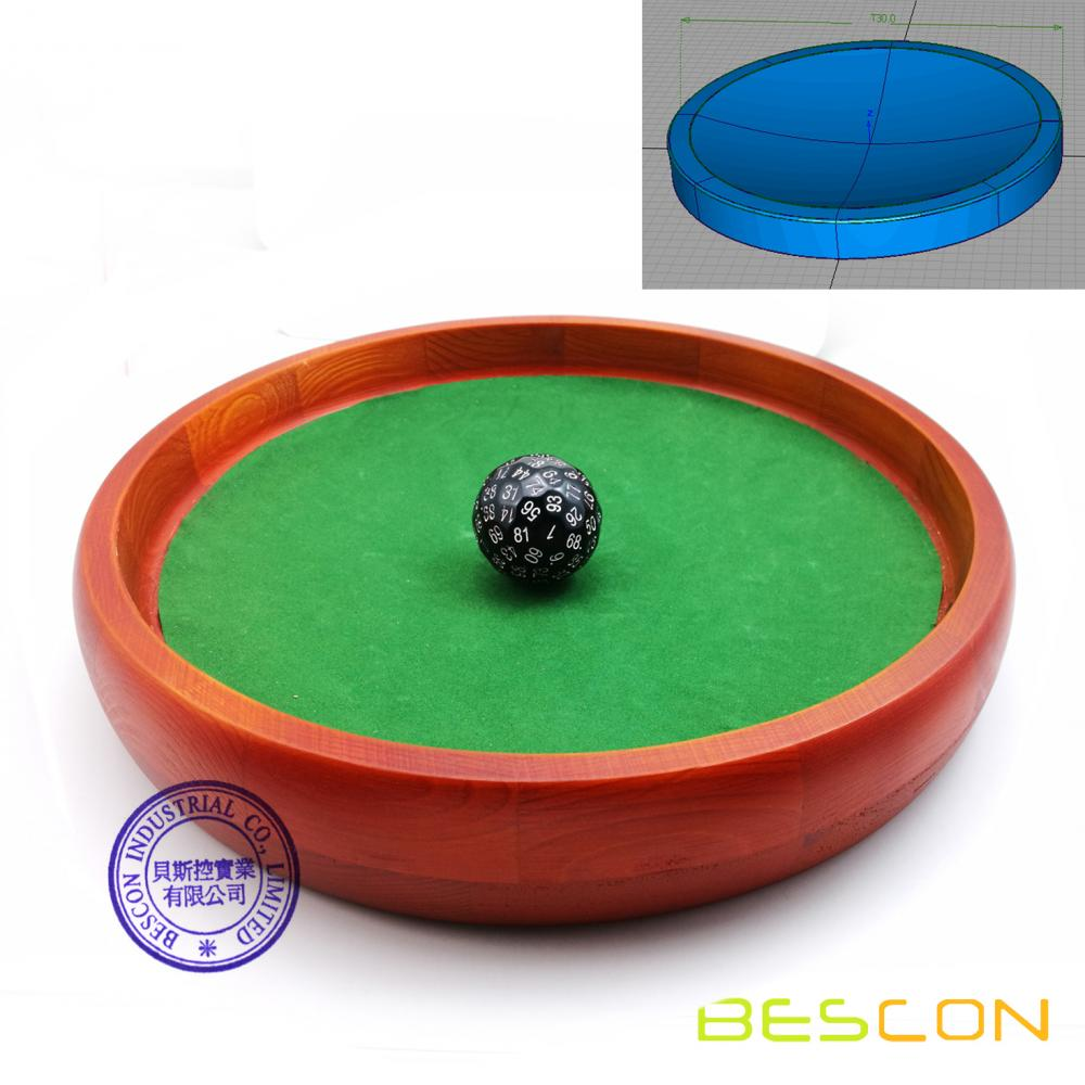 Conical Bottom 12inch Heavy Duty Wooden Dice Tray by BESCON Super Rolling Device to Stop Polyhedral Dice Optional Velvet Sticker